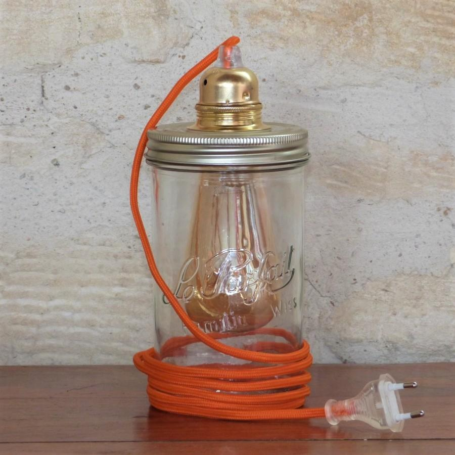 Lampe Bocal Cordon Orange